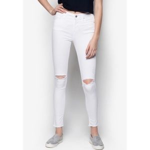 Topshop Jeans - White topshop moto Leigh jeans